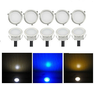 Pack of 10 Deck Path Light 30mm Warm Cool White Outdoor Garden Stairs Yard Lamp