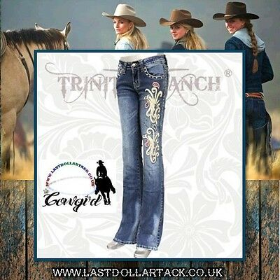 Ladies Trinity Ranch Western Designer Jeans With Crystals & Embroidery ~ Size 16