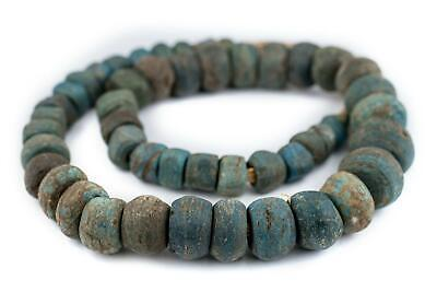 Antique Turquoise Blue Hebron Kano Beads 19mm Ghana African Cylinder Glass