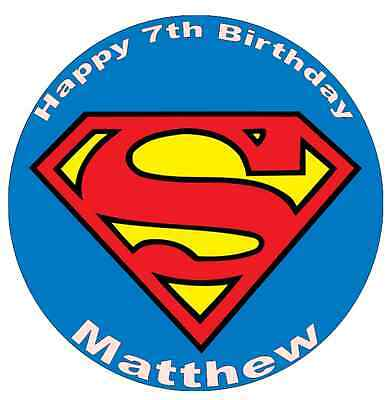 """Superman Logo Personalised Cake Topper 7.5"""" Edible Wafer Paper"""