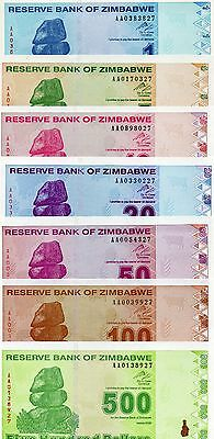 ZIMBABWE Africa set of 7 pcs 1-500 Dollars 2009 UNC