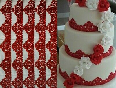 15 x DOILIES + 4 x EDIBLE SUGAR LACES FOR CAKES - WEDDING BIRTHDAY ANNIVERSARY