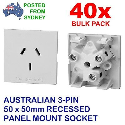 BULK 40 x PANEL SOCKET 50mm SQUARE w/ AUST 3-PIN Recessed Outlet Rich Bay RA-02