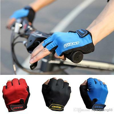 GIANT Unisex Cycling GLOVES Cycle Bike Bicycle Half Finger Less Anti Slip MITTS