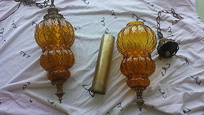 Antique Amber Glass Pendant Lamp 60's to 70's Era - Needs Rewired (Two in Stock)