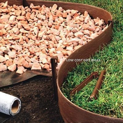 Landscaping Lawn Edging 40 X 3 Brown Plastic Garden Border Gr Yard Edge