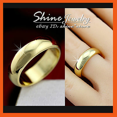 9K Plain Gold Gf Wedding Engagement Eternity Mens Womens Solid 6Mm Band Ring