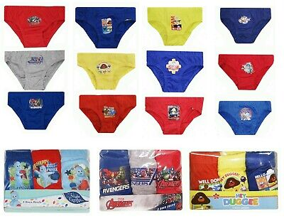 Boys 3 Pack Briefs Pants Pat Batman Mickey Pooh Bob Paw Patrol Charlie Iggle Toy