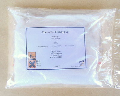Zinc sulfate heptahydrate - 99.7% pure 50g-100g-200g powder 7446-20-0