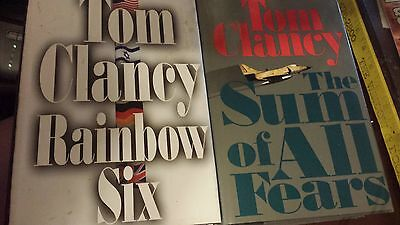 The Sum of All Fears & Rainbow Six Tom Clancy ~ 2 Big Thick Hardcover Books
