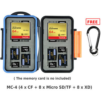 JJC MC-4 Memory Card Case or Wallet Storage for 4 CF 8 XD 8 TF(MICRO SD) cards