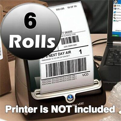 6 Rolls 220/Roll Thermal Shipping Labels 4x6 Compatible 1744907 Dymo 4XL Printer