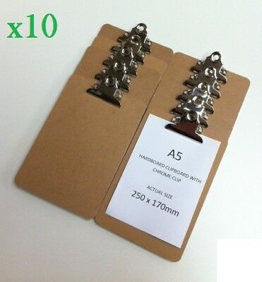 10 x Wooden A5 Clipboard Hardboard With Chrome Clip Small Menu Board 250x170mm