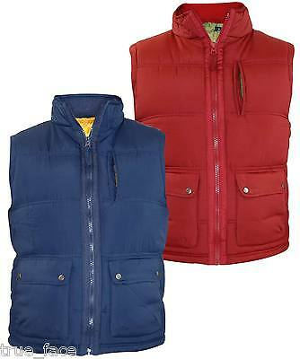 New Mens EX Branded Heavy Padded Lined Gilet Collar Full Zip Big Sleeveless coat