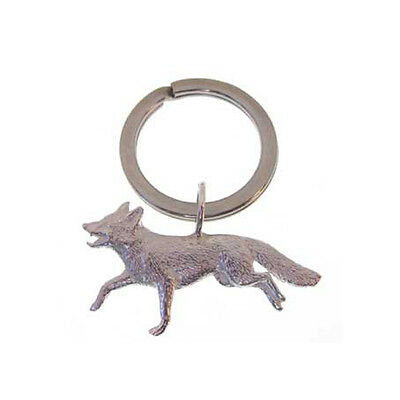 Silver Fox Key Ring.  Hallmarked Sterling Silver Fox Theme Keyring