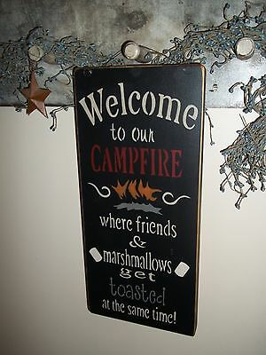 "Custom ""Handmade"" Rustic/Prim ""Welcome To Our Campfire"" Wood Hanging Decor Sign"