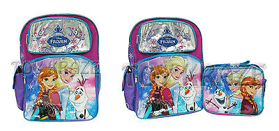 """Disney's Frozen Backpack And/or Lunch Box Set! Fever Large School Bag 16"""" Nwt"""