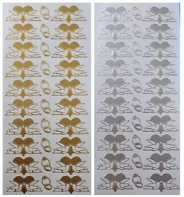 LOVE DOVES Peel Off Stickers Wedding Dove Rings Hearts Romance Gold or Silver