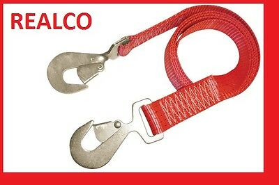 RED 4 METER TOW WEB WITH SNAP HOOKS (rope winching 4X4 recovery strap)
