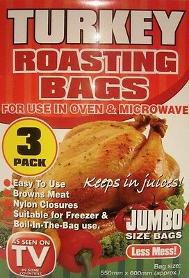 3 x PACK JUMBO ROASTING BAGS Microwave Oven Cooking Turkey Meat Chicken Fish UK