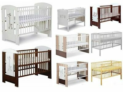 BABY CHILD CLASSIC WOOD COT + FREE FOAM MATTRESS size 120x60