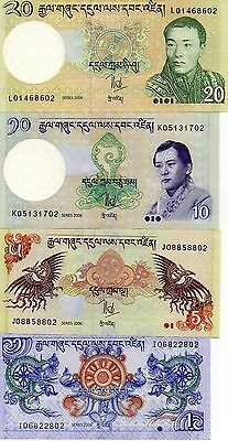 BHUTAN Asia set of 4 notes 1,5,10,20 Ngultrum UNC 2006 p-27,28,29,30