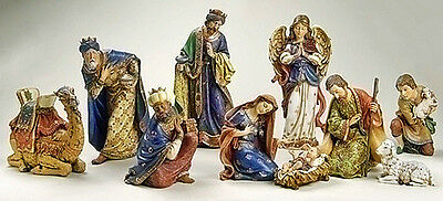 """CHRISTMAS DECORATIONS - """"CHRIST THE KING"""" 10-PIECE NATIVITY SET - 4""""H to 19""""H"""