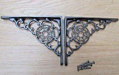 PAIR Antique Cast Iron ornate small shelf Bracket wall Support books storage