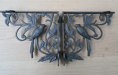 Pair of 1 BIRD WOODLAND ANTIQUE STYLE CAST IRON WALL SHELF BRACKETS BRACKET