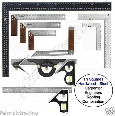 Metal Hardwood Tri Square Try Set Adjust Angle Slide Ruler Frame Combination