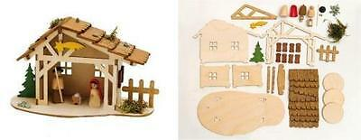 Dwg18-10109 Do It Yourself Christmas Nativity Stable Wooden German Kit