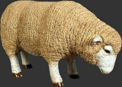 Lamb Statue Life Size Merino Ewe Lamb Head Down Sheep Farm Animal Display Prop