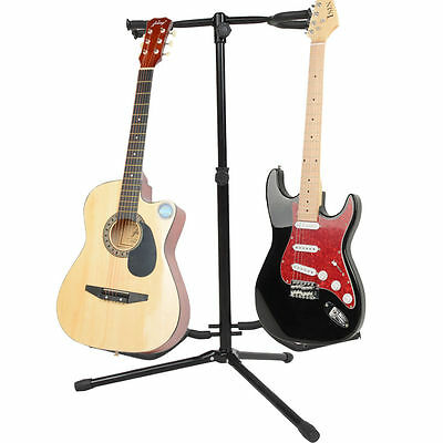 New Professional Musician's Dual Double Acoustic Electric Guitar Bass Stand