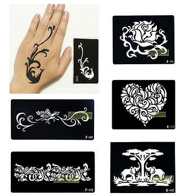 Cute 1pc Large Airbrush Template Body art Henna Flower Temporary Tattoo Stencils