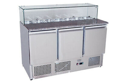 Fridge Commercial Three Door / Refrigerated Saladette Pizza Prep Counter