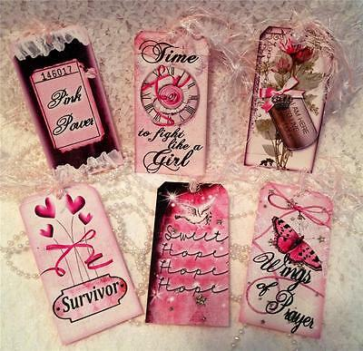 Breast Cancer Shabby~6 Large Hang Tags~Scrapbooking~Cards~#8~judysjemscrafts