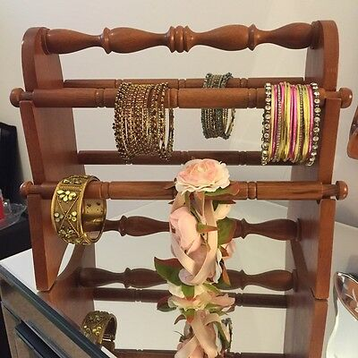 Bangle Bracelet Jewellery Display Stand 6 Bars Wooden Hand Crafted Stained Brown