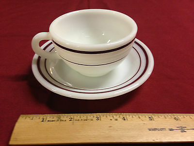 "Vintage Corningware ""Decor"" Maroon Stripe Milkglass Tea Cups with Saucers"