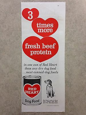"Vintage Ad: 1960 Red Heart Dog Food ""3 times more fresh beef protein"" beagle"