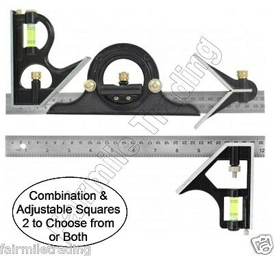 Metal Tri Square Sturdy Try Set Adjust Angle Slide Ruler Frame Combination mm &""