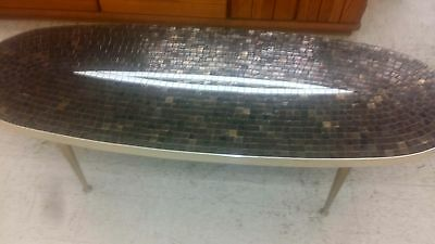 Mid Century Modern Copper Tile Top Mosaic Chrome Edge Longboard Coffee Table