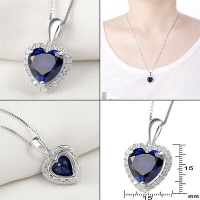 4.0 Ct Blue Sapphire Gemstone 925 Sterling Silver Heart Pendant Chain Necklace