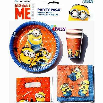 New Despicable Me Minions Kids Birthday Party Pack Supplies Plates Decorations
