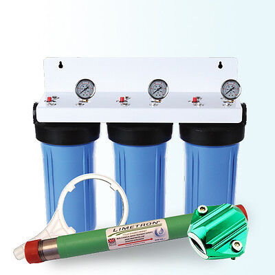 """Whole House BB Triple 10"""" x 4.5"""" Water Filter w/ Hard Water Descaler & Magnet"""