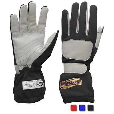 Speedway Nomex Racing Driving Gloves Double Layer, Black, Size Medium