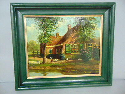 Antique Oil Painting On Canvas Of A Primitive Country Farm Scene
