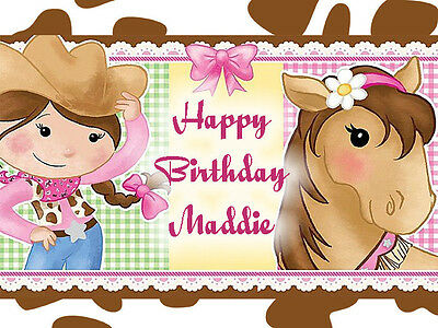 COWGIRL & Horse Edible ICING Image Birthday CAKE Topper Decoration
