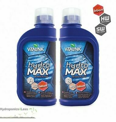 VITALINK Hydro Max Plant Nutrients Hydroponic BLOOM Feed A+B Hard or Soft Water