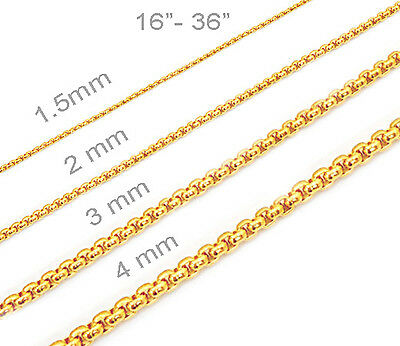 18K Gold Plated Mens Womens Stainless Steel rolo chain rolo Necklace round box