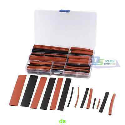 HOT 150PC 8 Sizes Ratio 2:1 Heat Shrink Cable Tube Tubing Sleeving Box Red Black